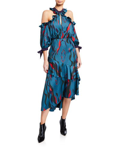 Corsica Printed Cold-Shoulder Tiered Ruffle Dress