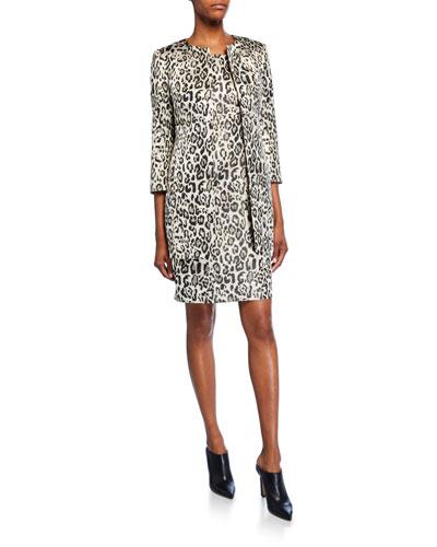 Metallic Animal Jacquard 3/4-Sleeve Topper Jacket & Dress Set