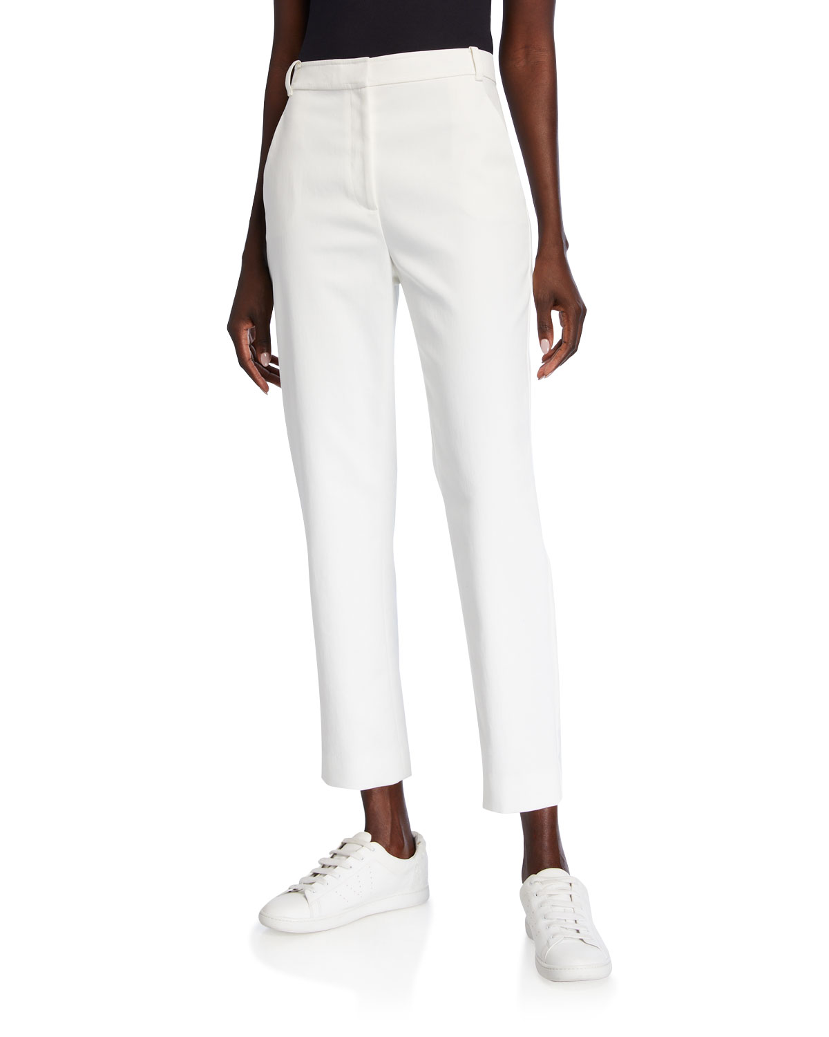 St. John Pants STRETCH WASH CANVAS TAPERED ANKLE PANTS WITH POCKETS