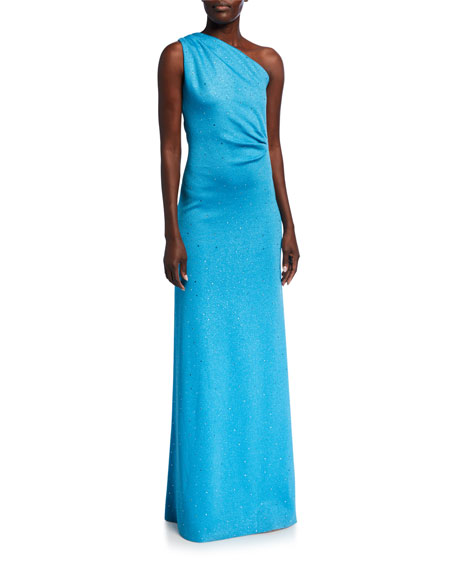 St. John Collection Sequined Milano Knit One Shoulder Column Gown with Gathers