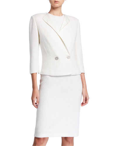 Sequined 3/4-Sleeve Jacket with Duchess Satin Contrast