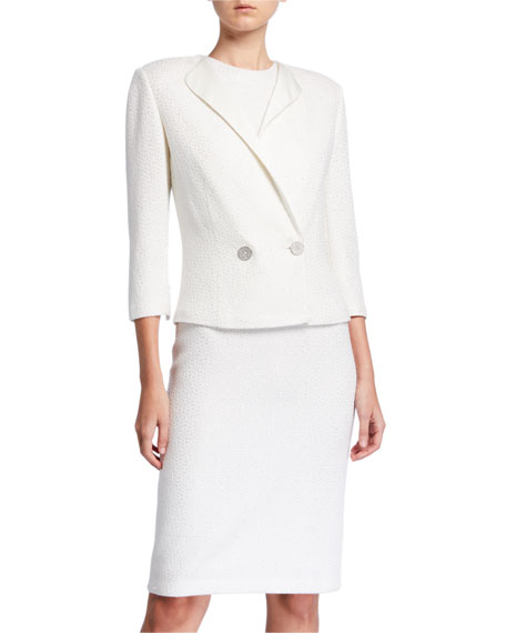 St. John Collection Sequined 3/4-Sleeve Jacket with Duchess Satin Contrast