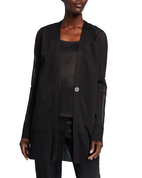 St. John Collection V-Neck One-Button Knitted Organza Stitch Cardigan