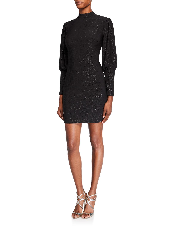 Metallic Jersey High-Neck Puff-Sleeve Cocktail Dress