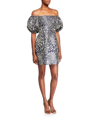 Metallic Leopard Jacquard Off-the-Shoulder Puff-Sleeve Mini Dress