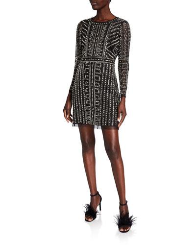 Geometric Beaded Long-Sleeve Mini Cocktail Dress