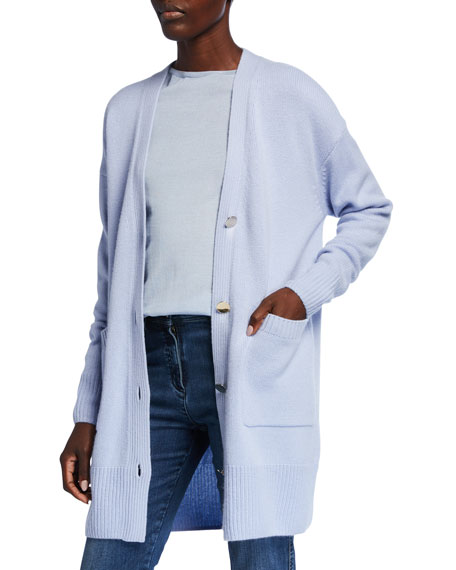 St. John Collection Button-Front Drop Shoulder Cashmere Cardigan