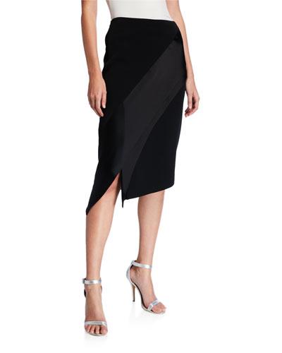 Asymmetrical Skirt with Contrast Liquid Satin Panel