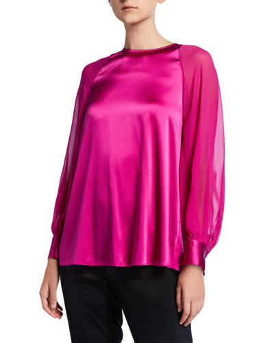 Stretch Silk Charmeuse Blouse with Silk Georgette Sleeves