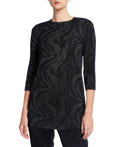 3/4-Sleeve Metallic Marbled Jacquard Knit Top w/ Sequin Detail