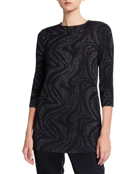 St. John Collection 3/4-Sleeve Metallic Marbled Jacquard Knit Top w/ Sequin Detail