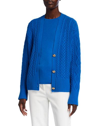 Galway Cable Knit V-Neck Drop Shoulder Cardigan