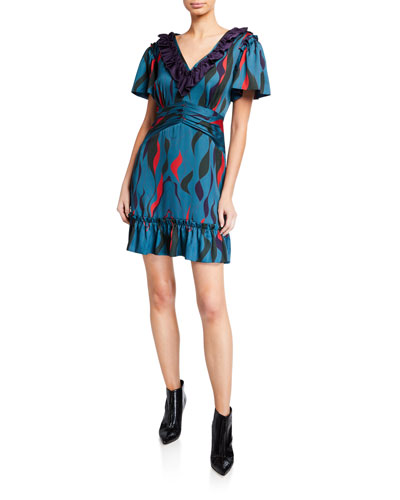 Sorrento Printed V-Neck Short-Sleeve Ruffle Dress