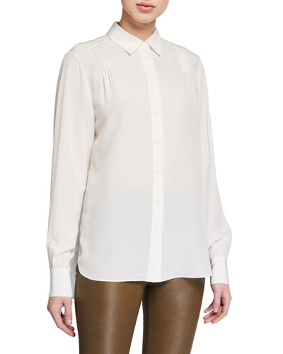Odette Pintuck Button-Front Blouse