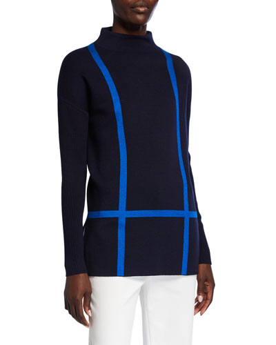Windowpane Double Knit Funnel-Neck Top w/ Rib Sleeves
