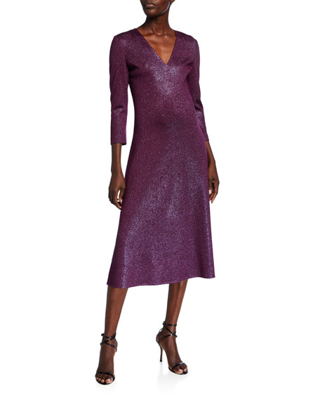 St. John Collection V-Neck 3/4-Sleeve Flared Milano Knit Dress w/ Sequins