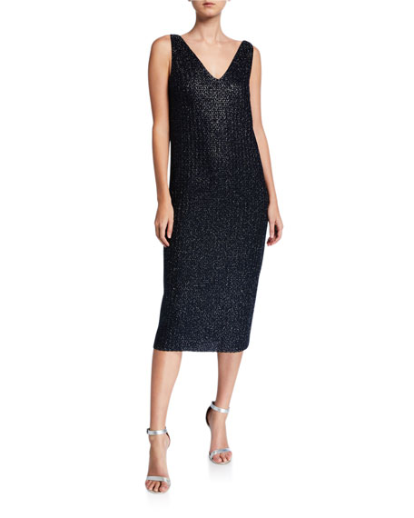 St. John Collection Beaded Metallic V-Neck Sleeveless Midi Dress