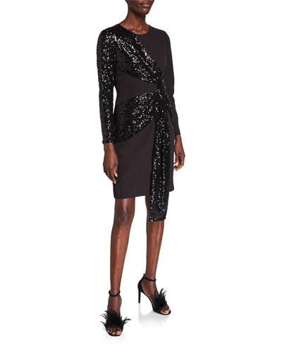 Sequin Drape Long-Sleeve Crepe Sheath Dress