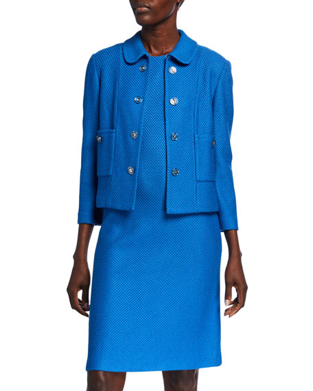 St. John Collection Cropped Honeycomb Knit Jacket with Pockets