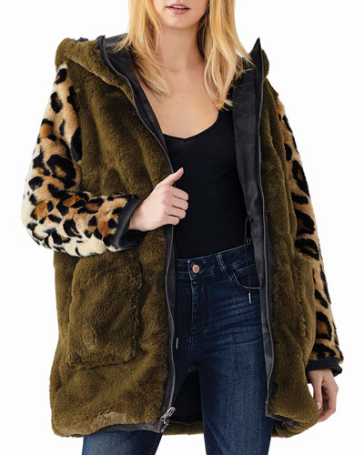 Phoebe Hooded Animal-Print Parka Jacket