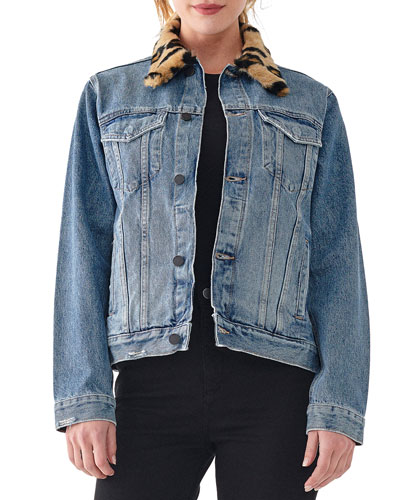 Clyde Classic Trucker Jacket with Faux Fur Trim