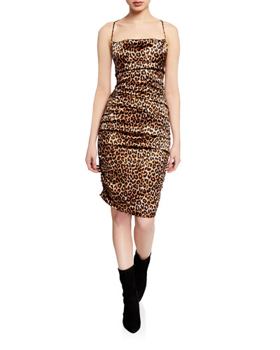 Alessia Leopard Cowl-Neck Sleeveless Dress