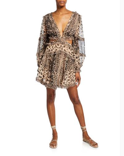 Allia Cutout Animal-Print Short Dress