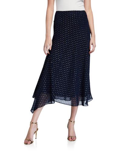 Rosia Metallic Dot Asymmetric Midi Skirt