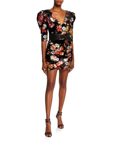 Saint Floral Velvet Elbow-Sleeve Belted Mini Dress