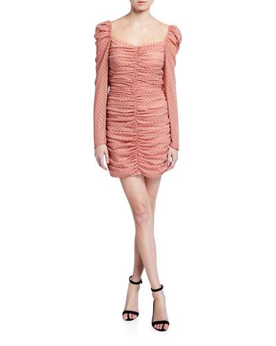 Francesa Ruched Long-Sleeve Mini Dress