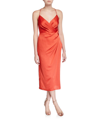 Prime Ruched Asymmetric Satin Slip Dress