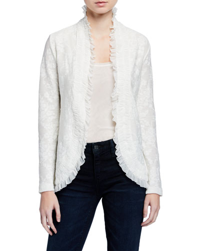 Tie-Front Ruffle Edge Lace Cardigan
