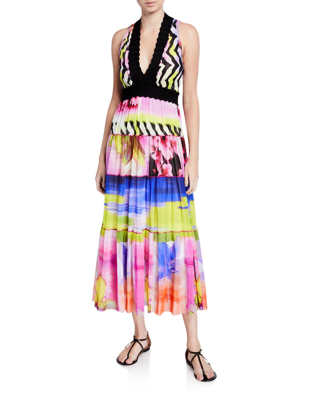 Fuzzi Dresses PRINTED V-NECK SLEEVELESS SCALLOP TRIM MAXI DRESS