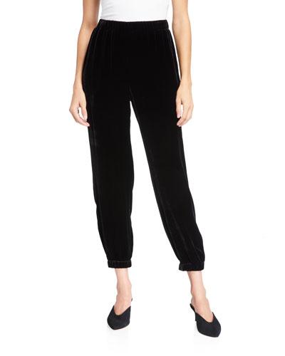 Velvet Pull-On Ankle Pants w/ Elastic Cuffs