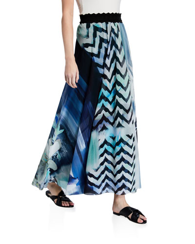 Printed Scallop Waist Maxi Skirt