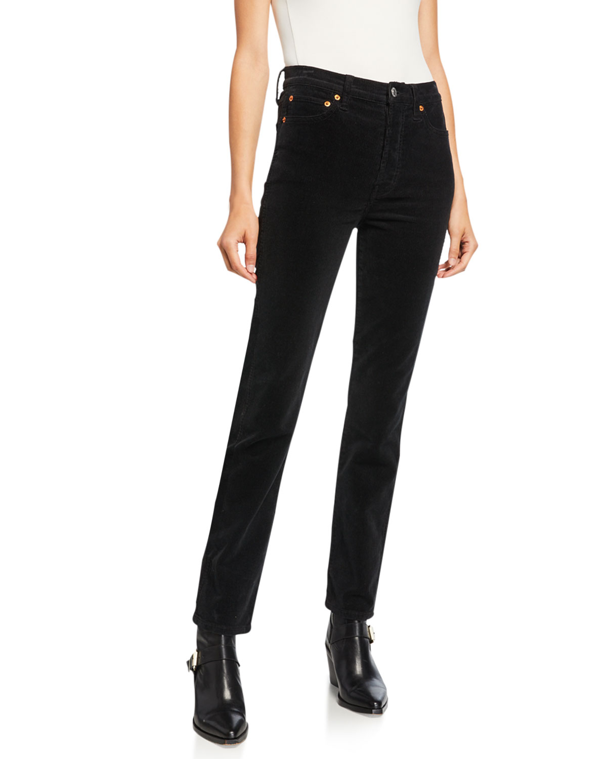 Re/done Jeans DOUBLE NEEDLE HIGH-RISE STRAIGHT-LEG JEANS