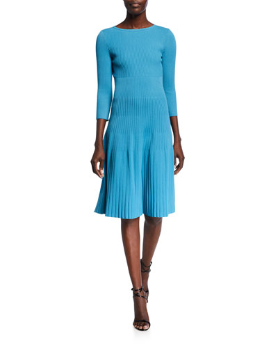 Engineered Rib Knit Bateau Neck Dress