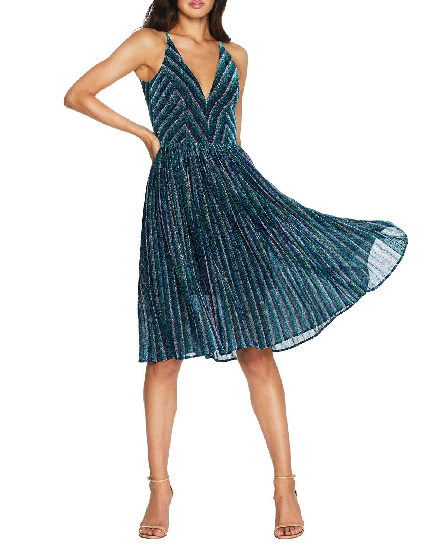 Dress The Population Dresses HALEY METALLIC STRIPED V-NECK SLEEVELESS PLEATED DRESS