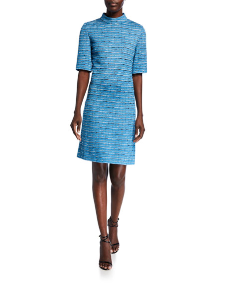 St. John Collection Artisanal Space Dyed Striped 1/2-Sleeve Dress