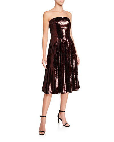 Ruby Sequin Bustier Midi Cocktail Dress