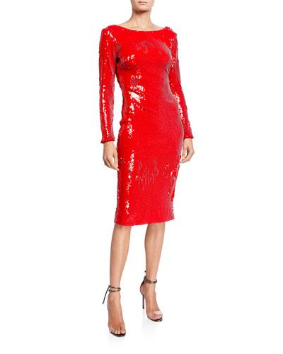 Emery Sequin Long-Sleeve Sheath Dress
