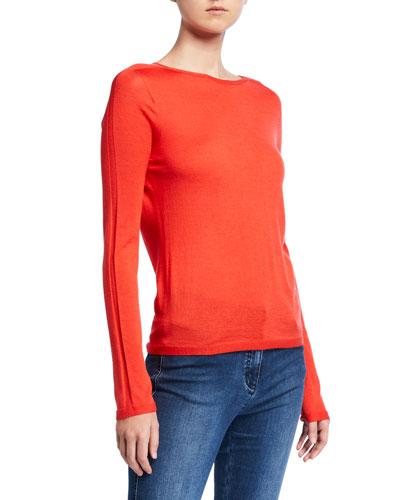 Fine Gauge Merino Wool Jersey Top w/ Back Seam Detail