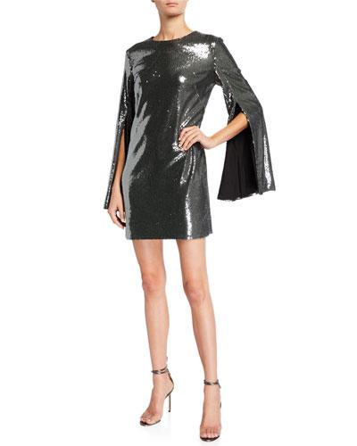 Liza Sequin Cape-Sleeve Sheath Dress