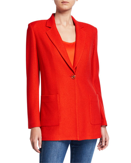 St. John Collection Diagonal Knitted Twill Blazer Jacket