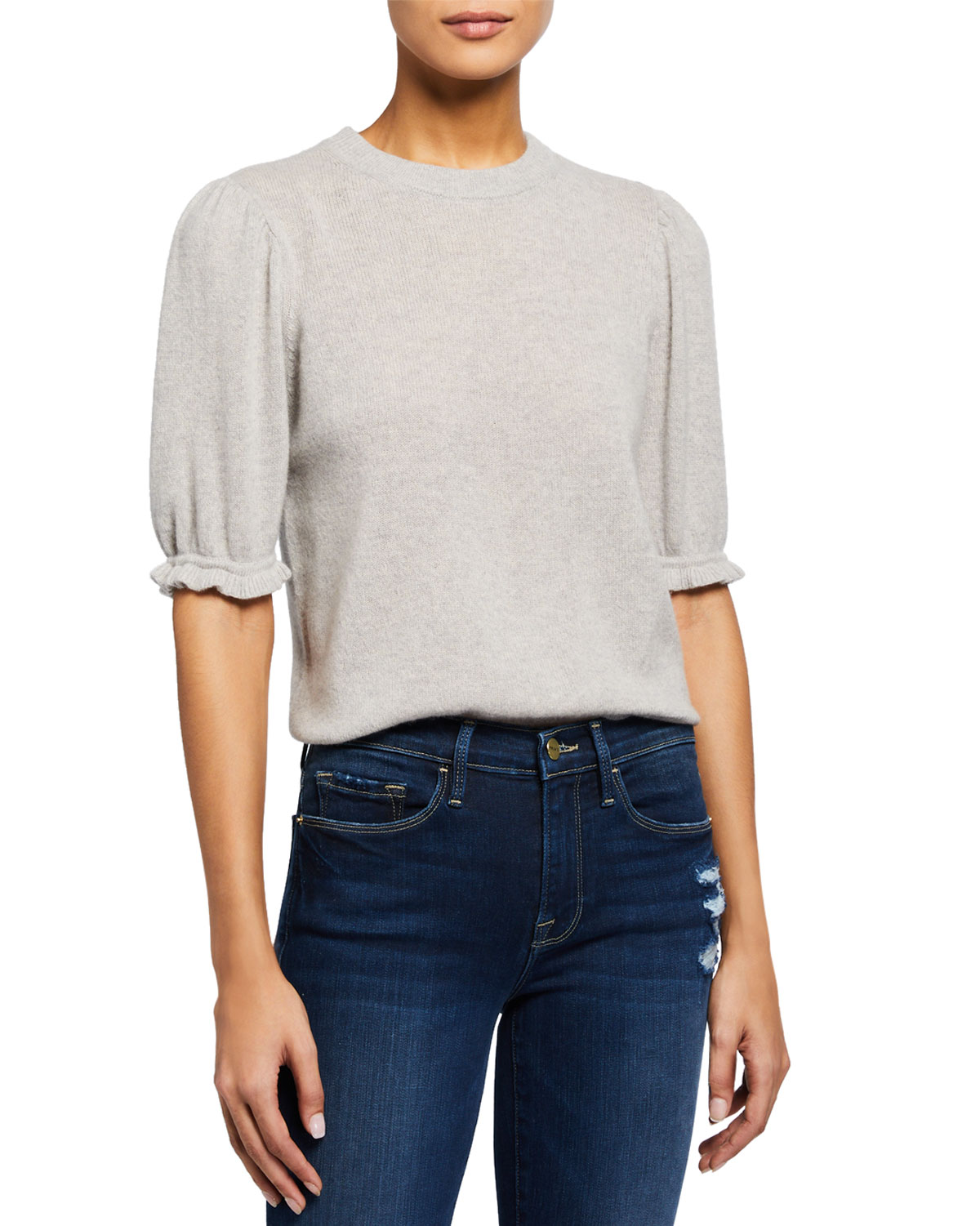 Frame Sweaters SUSTAINABLE CASHMERE SHIRRED SHORT-SLEEVE SWEATER