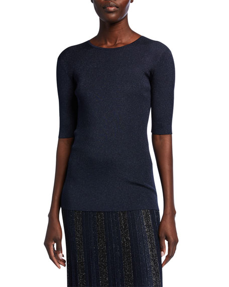 St. John Collection Evening Sparkle Rib Knit Elbow-Sleeve Top