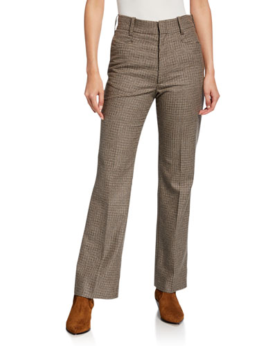 70s High-Rise Check Trousers