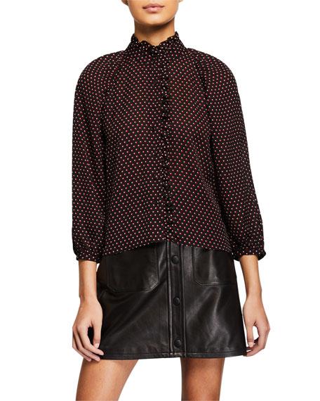 FRAME Grace Dotted-Silk Shirt