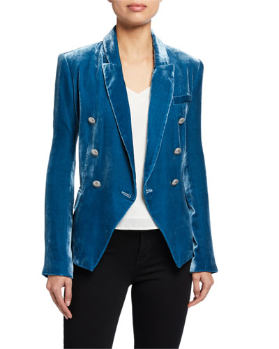 Kenzie Velvet Double-Breasted Blazer