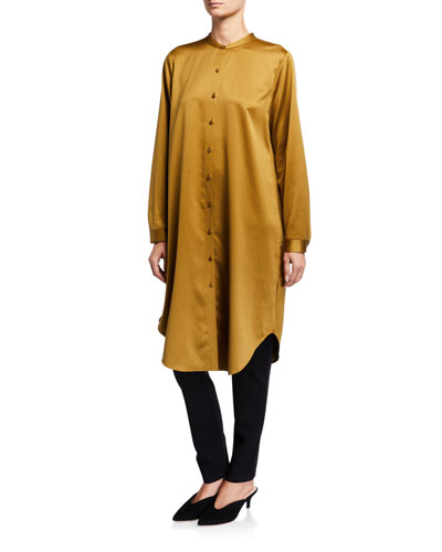 Plus Size Button-Down Recycled Polyester Satin Long Mandarin-Collar Shirt